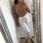 White Kiara satin pants