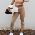 Beige ribbed set - Leggings