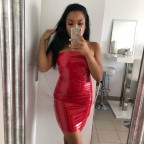 Vrtist red shiny vinyl latex bandeau dress