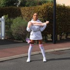White shiny high socks with pink stripes