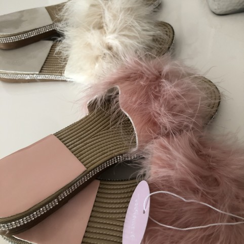 Cream Faux-fur sandals