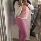 Vrtist Pink knitted thick leggings